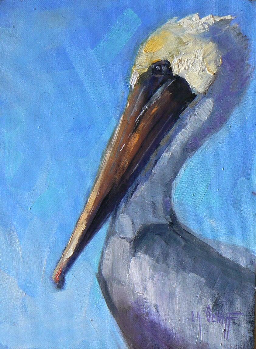 Original Oil Bird Painting Pelican Painting Big