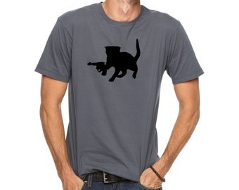 Funny T Shirt - CAT WITH A GUN Tee Shirt - Men's Tshirt - Unisex Cotton Tee Shirt