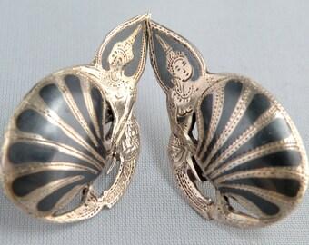 Sterling Silver Earrings Made In Siam Vintage 1950's