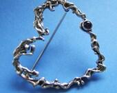 Valentine's Heart Brooch with Gemstone, Sterling Silver