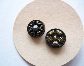 2 Vintage Cut Steel Buttons