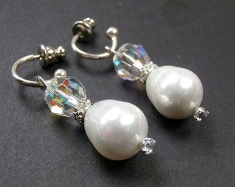 Pearl Dangle Earrings Swarovski Crystal Fancy CZ Rondelles Wire Wrapped Post Hoop Earrings Bridal Wedding Earrings Mini Hoop Pearl Earrings