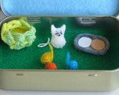 Cat miniature plush felt play set in Altoid tin  - includes balls of yarn, play food and basket