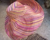 Large Brim Pinstripe Multi Color Rainbow Straw Hat