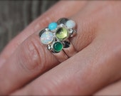 Graduated Five Birthstone Ring. Fairy Tale Ring. Sterling Silver Colorful. Mother's Ring. Family ring. Grandma. Sisters. Friends. Customize