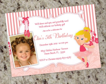 Little Ballerina - Sweet Pink Ballerina or Dance themed Party Invitations - with or without Photo