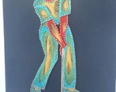 Reserved for Sarah D GOLFER String Art Picture Colorful Fathers Day Mod Wall art