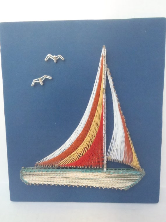 Sailboat String Art Picture Colorful Wall Hanging