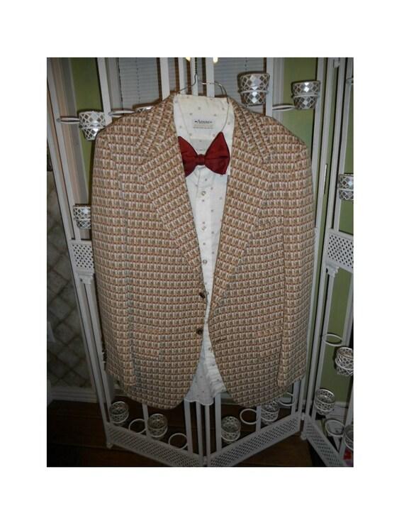 Vintage suit jacket shirt bow tie plaid nerd costume mens office geek production stage