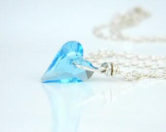 Heart Necklace - Swarovski Heart Pendant. Aquamarine Crystal, Sterling Silver, Blue, Aqua, Romantic Jewelry, Heart Jewelry, Jewelry Necklace