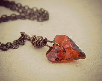 Swarovski Heart Necklace. Heart Pendant, Jewelry Necklaces, Red Magma Necklace, Brown Heart Necklaces, Rustic Jewelry, Romantic Necklace