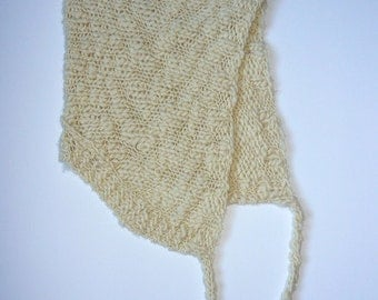 SALE - Snowy day hood for adults.  Hand knitted in soft, textured, undyed wool.