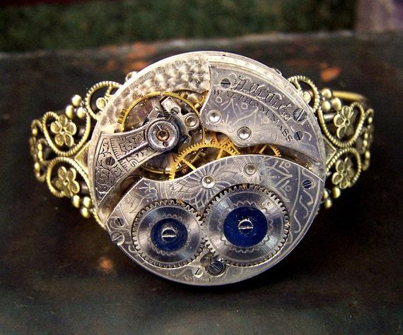 Watch Movement and Filigree bracelet - Antique Watch Movement - Antiqued Bronze - Filligree - gears - cuff bracelet - steampunk - gold tone