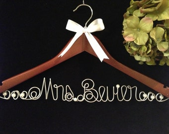 Custom Bride Hanger for Wedding Dress PEARLS and RIBBON accents included
