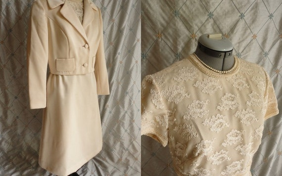 60s Dress // Vintage 1960s Cream Lace and Wool Blend Dress and Jacket by Jack Bryan L