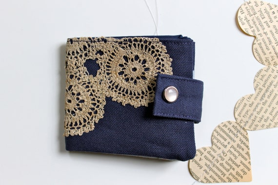 Fabric Women's Wallet - Navy Canvas &  Vintage lace