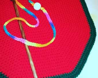 Round Pet Blanket - 18 Inch Red and Green