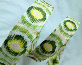 D Ring Belt, green and yellow bursts, M/L, womens belt, ready to ship