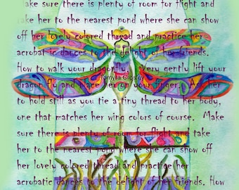 How to walk your dragonfly word art by Tamyra Crossley.  Digital Download.