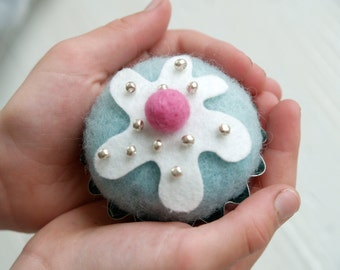 Felt Cupcake, Needle Felted Decoration, Kitchen Home Decor, Nursery Display, pale turquoise blue, Robin Egg, Cake ornament, Country, Wool
