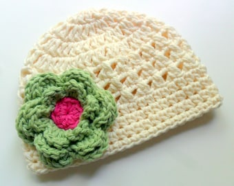 Baby Crochet Hat, Toddler Crochet Hat, Girls Beanie Hat, Cream, Sage Green, Hot Pink, MADE TO ORDER