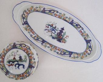 2 piece vintage Czech porcelain dresser set