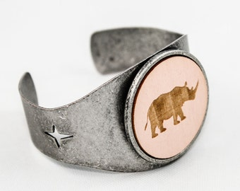 SALE Rhino Cuff - Laser Engraved Wood (Pale Pink)