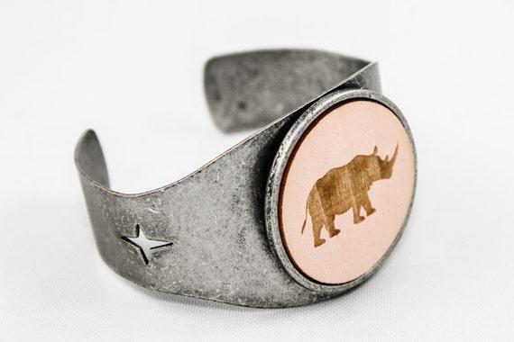 SALE Rhino Cuff - Laser Engraved Wood (Pale Pink)