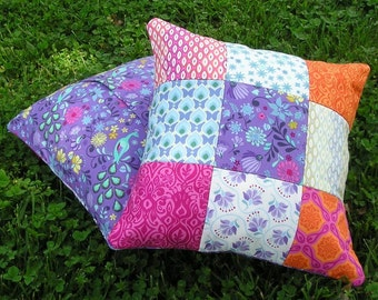 Pillow Cover Pair 14x14 Kate Spain Cuzco - Eclectic Quilted Patchwork