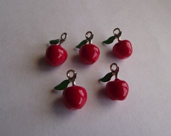 3D Enamel Red Apple- 5 charms