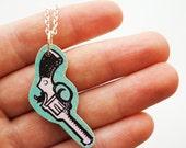 HALF PRICE SALE Wooden Cowboy Revolver Necklace