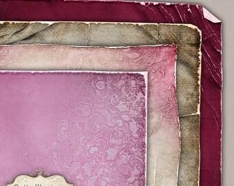 TIMELESS LOVE - Torn and Worn Vol 1 - Digital Scrapbooking Papers - Digital Paper Pack  -  Set 01 - 4 Beautiful Papers -2.50