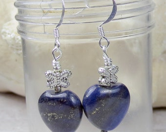 Lapis Stone Heart with Butterfly charm earrings, valentines day, holidays