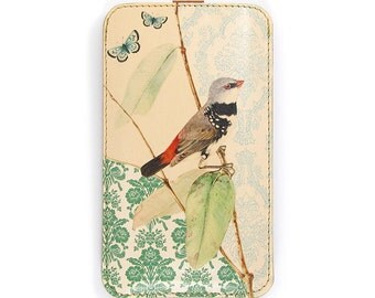 Leather iPhone 6 case, Leather iPhone 5 Case,  Galaxy S5 Case - Bird on Branch with Butterflies
