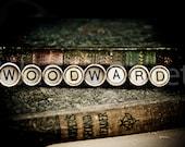 WOODWARD Vintage Typewriter Keys Fine Art Photographic Print on Metallic Paper