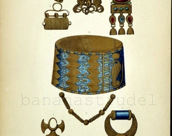 1880s Antique English Illuminated Chromolithograph of Ancient Gold Jewellery / Jewelry / Earrings / Brooch