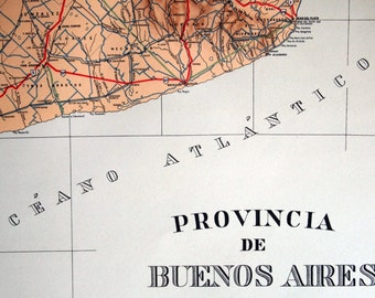 1938 Rare Argentinian Poster-sized Limited Edition Vintage Map of the Province of Buenos Aires, Argentina