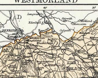 1879 Antique Map of Westmorland, the UK - In Pastel Colours - Westmorland Antique Map - Antique Westmorland Map