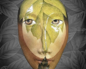 The Meeting - Mask Sculpture, Ceramic Wall Art