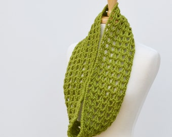 Crochet Lace Infinty Scarf..Green Eternity Scarf