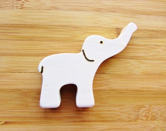 Wooden Elephant Teether Natural Waldorf Teething Toy