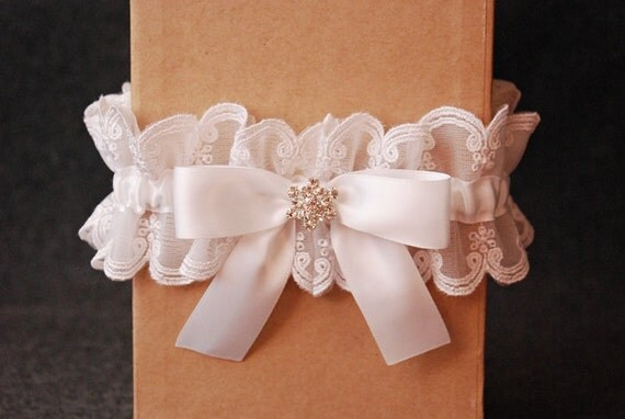 Wedding Garter - White Satin and Lace Bridal Garter With Rhinestone - Laila