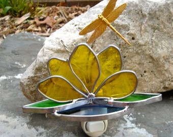 Dragonfly on Lotus Stained Glass Nightlight