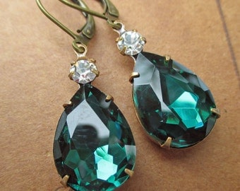 Gifts for Mom Christmas - Emerald Earrings - Estate Style Jewelry - Holiday Jewelry - Victorian Earrings -  MAYFAIR Emerald