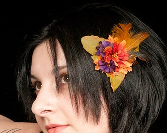 Purple and Orange Feather and Flower Hair Clip