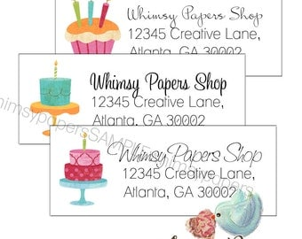 Birthday Cake Return Address Labels - Glossy - Set of 30