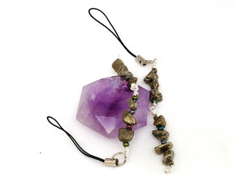 Two (2) Pyrite Flash Drive Lariat Charms made with Semi Precious Stone Chips