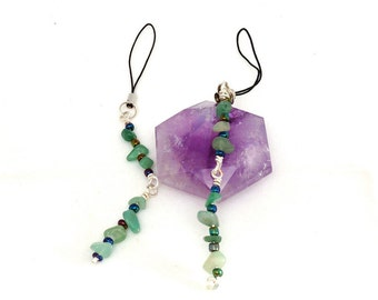 Two (2) Aventurine Flash Drive Lariat Charms made with Semi Precious Stone Chips