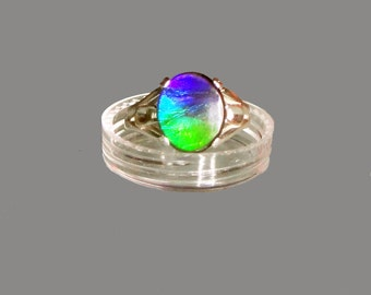 Ammolite Cabochon Sterling Silver Statement  Ring Gift Idea