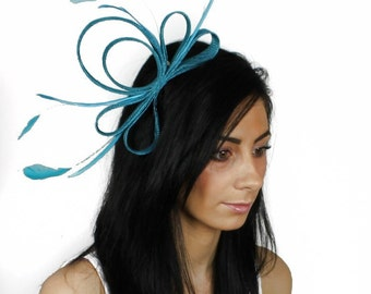 Turquoise Fascinator Hat for Kentucky Derby, Weddings and Christmas Parties on a Headband